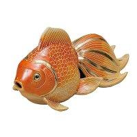 Japanese Goldfish Statue Figurine Kutani Porcelain beni mori gold W21cm