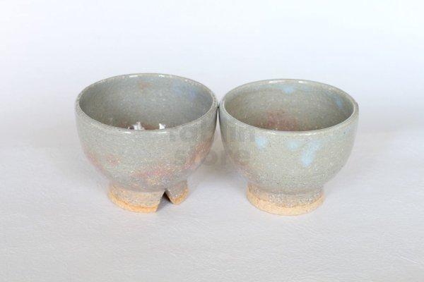 Photo2: Hagi ware Senryuzan climbing kiln Japanese tea cups kumidashi set of 2