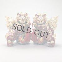 Japanese Leo Shishi Dragon Lion dog Kutani Porcelain red katana H19cm a set of 2