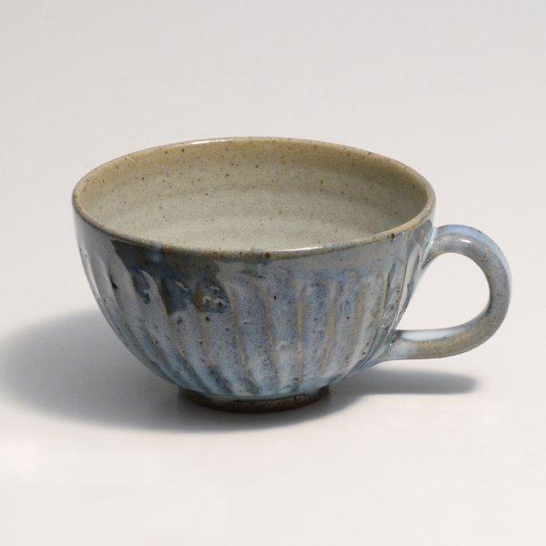 Photo1: Shigaraki sd Japanese pottery tea mug coffee cup Shinogi wide blue 360 ml