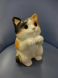 Shigaraki pottery Japanese neko Cute cat mike H 18cm