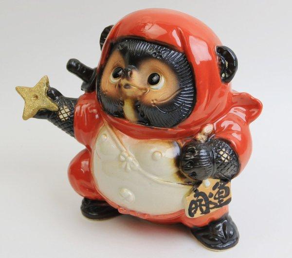 Photo1: Shigaraki pottery Japanese Tanuki Cute Raccoon Dog red Ninja shuriken H 17.5 cm