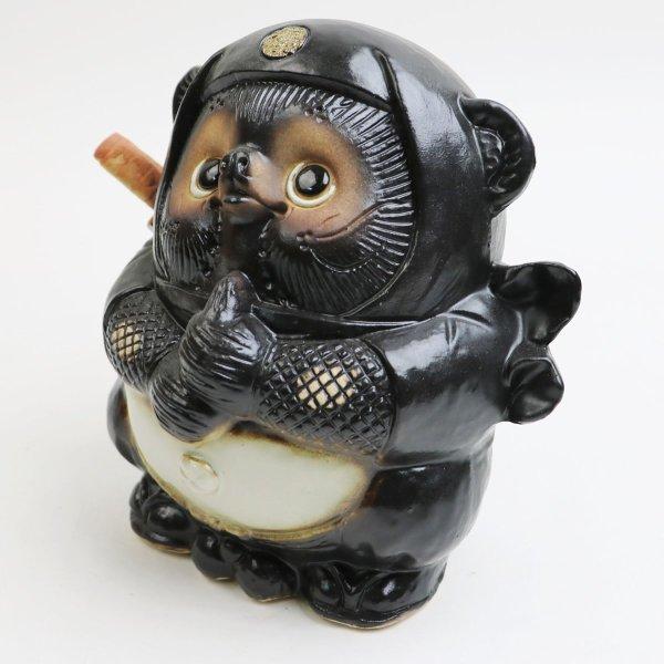 Photo2: Shigaraki pottery Japanese Tanuki Cute Raccoon Dog  Black Ninja H 17.5 cm