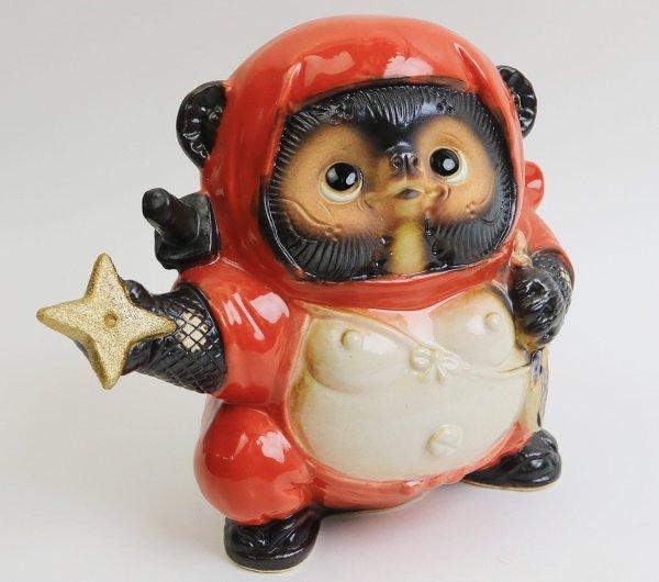 Photo3: Shigaraki pottery Japanese Tanuki Cute Raccoon Dog red Ninja shuriken H 17.5 cm