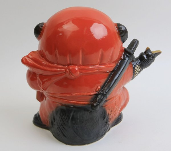 Photo2: Shigaraki pottery Japanese Tanuki Cute Raccoon Dog red Ninja shuriken H 17.5 cm