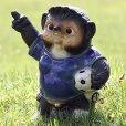 Photo1: Shigaraki pottery Japanese Tanuki cute Raccoon Dog soccer football Blue H24 cm (1)