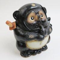 Shigaraki pottery Japanese Tanuki Cute Raccoon Dog  Black Ninja H 17.5 cm