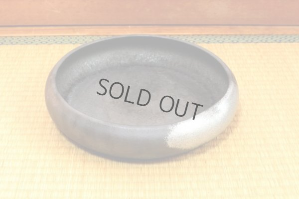 Photo1: Ikebana Suiban Vase Shigaraki Japanese pottery Round dimple ginsai D 30cm