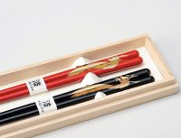 Echizen Japanese lacquer wooden chopsticks Dragon Gift Box set