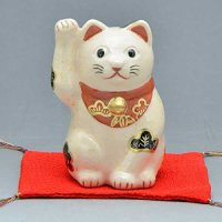 Maneki neko lucky cat Kiyomizu pottery Japanese doll H10.5cm any color