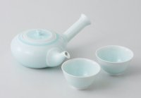 Hasami porcelain Japanese kyusu tea cup set Seiji light blue glaze