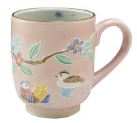 Kiyomizu Japanese porcelain mug coffee cup kochi mandarin duck pink 210ml