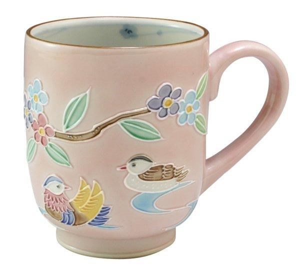Photo1: Kiyomizu Japanese porcelain mug coffee cup kochi mandarin duck pink 210ml