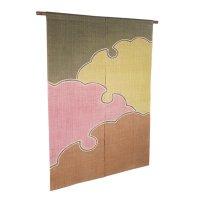 Noren Mitsuru Japanese linen door curtain kusakizome snow crystal 88 x 150cm