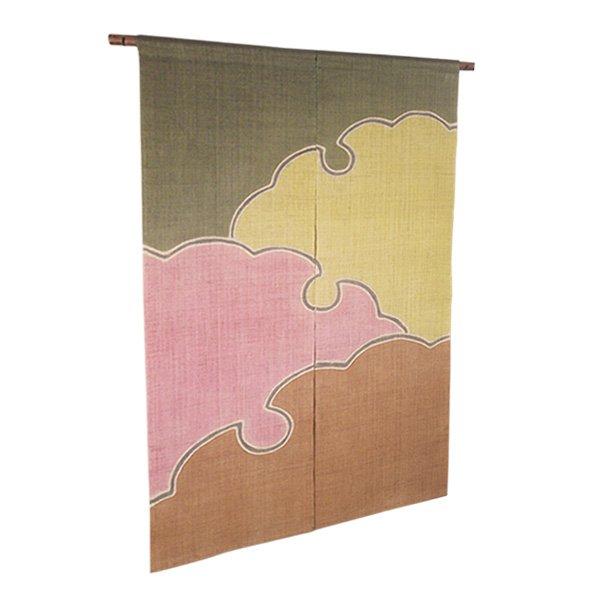 Photo1: Noren Mitsuru Japanese linen door curtain kusakizome snow crystal 88 x 150cm