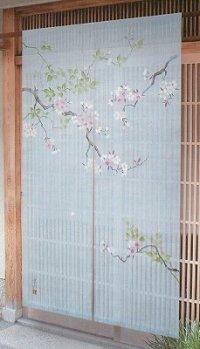 Noren Japanese Doorway Curtain waza sakura cherry leaf linen 88 x 150 cm