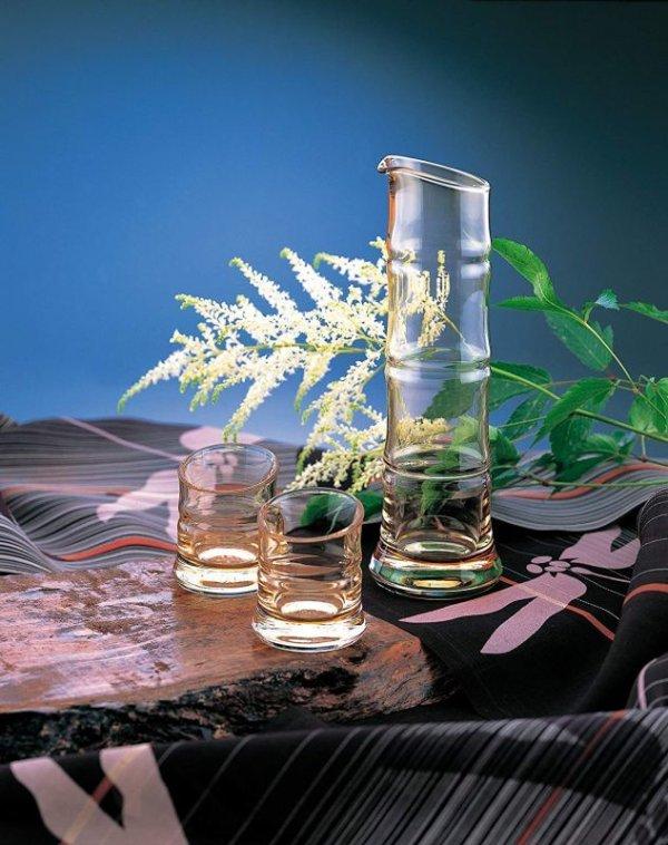 Photo1: Bamboo Hirota glass Sake bottle cups shuki zoroe reishuki 270ml