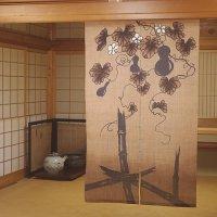 Noren Mitsuru Japanese linen door curtain kusakizome bamboo gourd 88 x 150cm