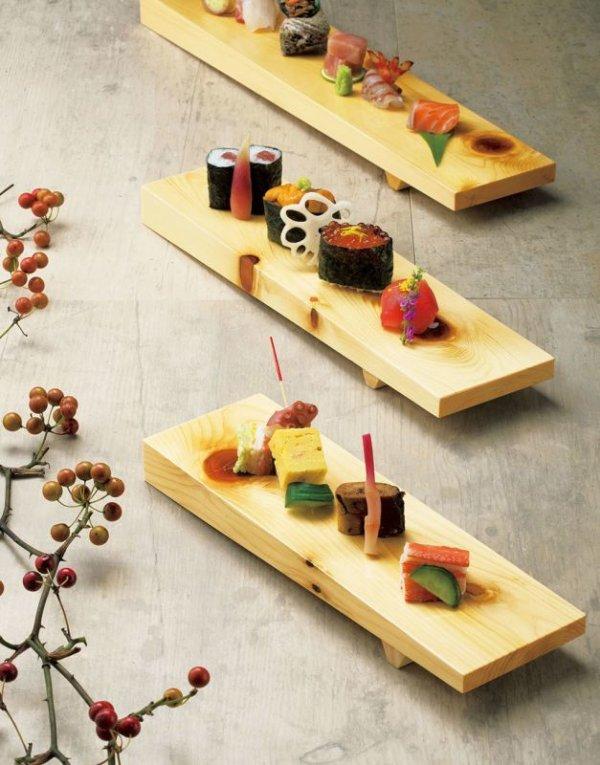 Photo4: Japanese Natural Wooden Sushi Sashimi Serving Plate yc Hinoki cypress M W36cm
