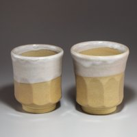 Hagi ware Senryuzan climbing kiln Japanese tea cups kakewake set of 2