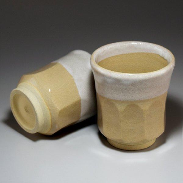 Photo2: Hagi ware Senryuzan climbing kiln Japanese tea cups kakewake set of 2