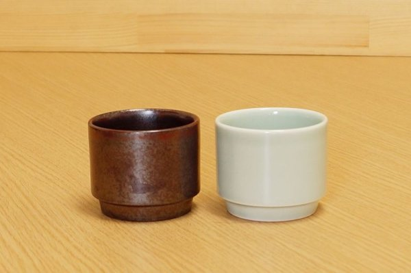 Photo1: Arita porcelain Yunomi Japanese tea cups Sencha Seiji Kaki (set of 2)