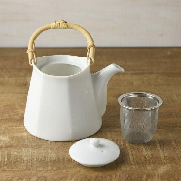 Photo2: Mino Japanese ceramics Dobin tea pot Miyama white 430ml
