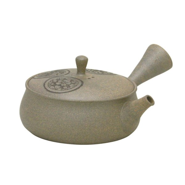 Photo2: Tokoname Japanese tea pot Gyokko flower carved flat shape yakishime 120ml