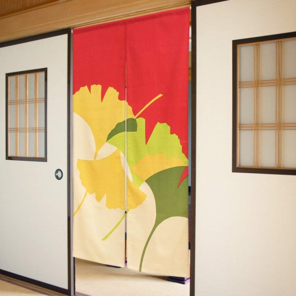 Photo1: Noren CSMO Japanese door curtain colorful ginkgo cotton 85 x 150 cm