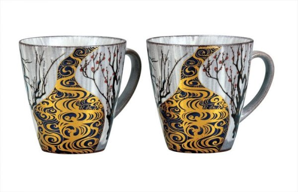 Photo1: Kutani yaki pottery Korinbai Japanese mug cup set of 2