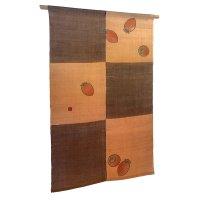 Noren Mitsuru Japanese linen door curtain Kakishibu ichimatsu kaki 88 x 150cm