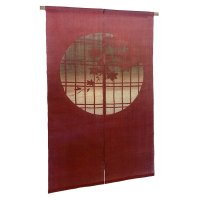 Noren Mitsuru Japanese linen door curtain Bengarazome koshi maple 88 x 150cm