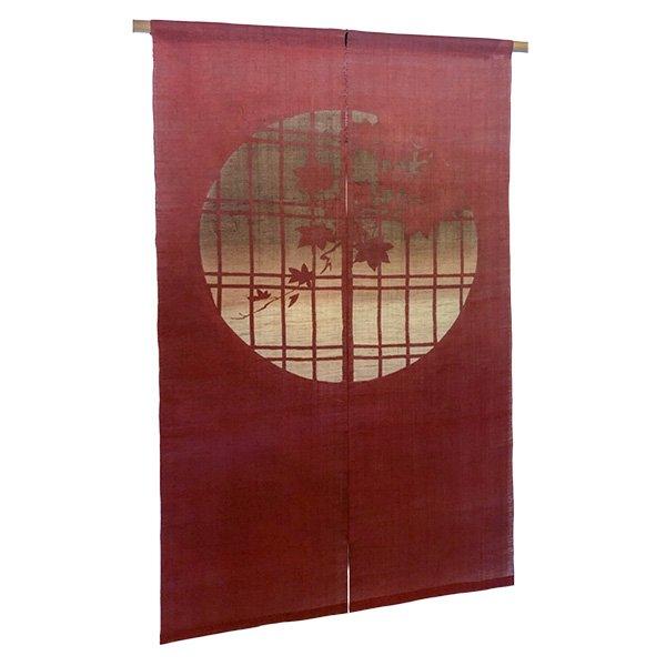Photo1: Noren Mitsuru Japanese linen door curtain Bengarazome koshi maple 88 x 150cm