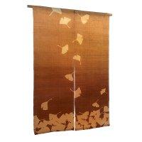 Noren Mitsuru Japanese linen door curtain Kakishibu ginkgo 88 x 150cm