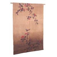 Noren Mitsuru Japanese linen door curtain Kakishibu camellia 88 x 150cm
