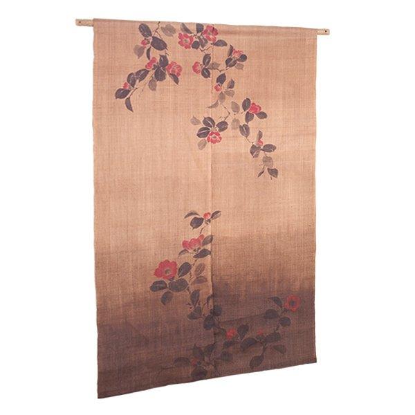 Photo1: Noren Mitsuru Japanese linen door curtain Kakishibu camellia 88 x 150cm