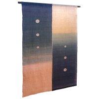 Noren Mitsuru Japanese cotton door curtain Kakishibu ginsai aizome 88 x 150cm