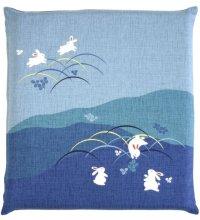 Japanese floor pillow cushion cover zabuton cotton meisen rabbit 55 x 59cm