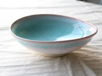 Hagi ware Japanese Serving bowl mint pink-light-blue gradation W260mm