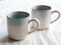 Hagi Japanese pottery mug coffee cup mint pink-light-blue gradation set of 2