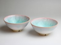 Hagi yaki ware Japanese rice bowl mint pink-light-blue gradation set of 2