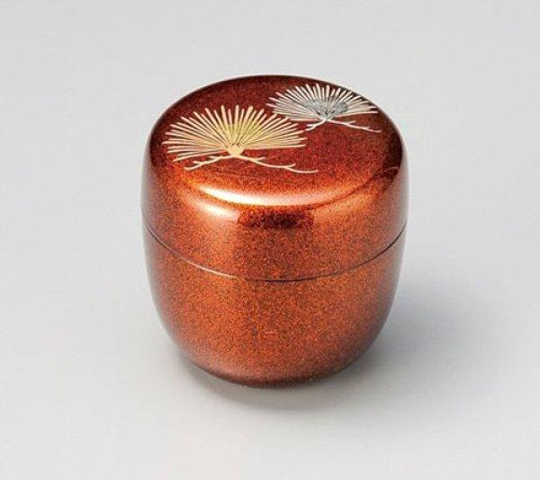 Photo1: Tea Caddy Japanese Natsume Echizen Urushi lacquer Matcha container fan pine