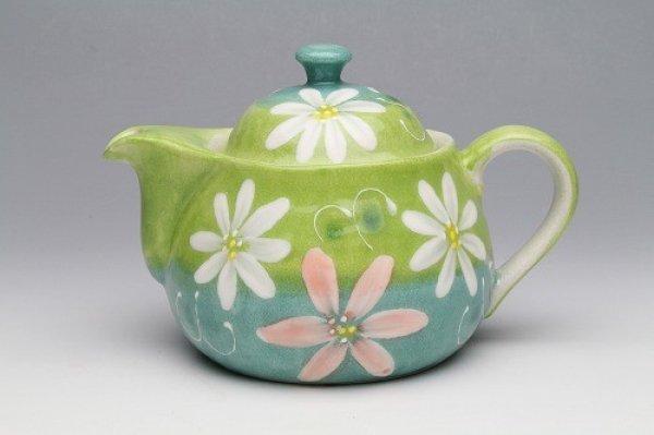 Photo5: Seto pottery Japanese tea pot koharu flower stainless tea strainer 500ml