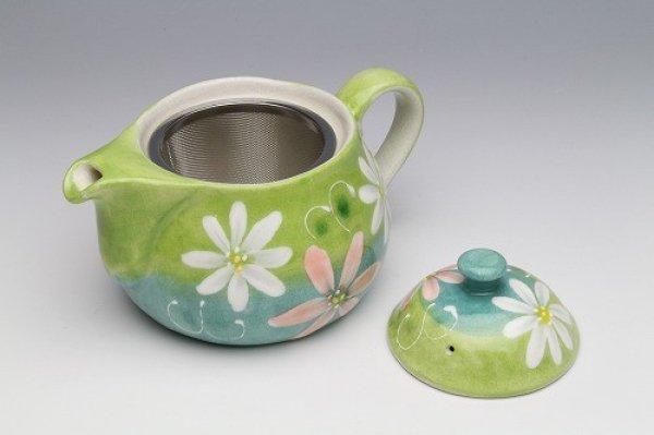 Photo4: Seto pottery Japanese tea pot koharu flower stainless tea strainer 500ml