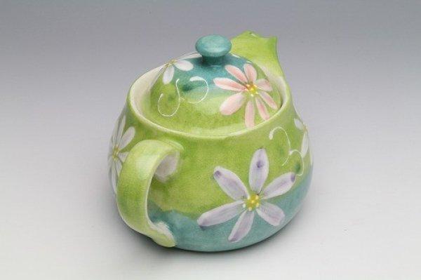 Photo3: Seto pottery Japanese tea pot koharu flower stainless tea strainer 500ml