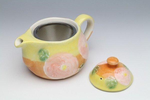 Photo3: Seto pottery Japanese tea pot koharu rose stainless tea strainer 500ml