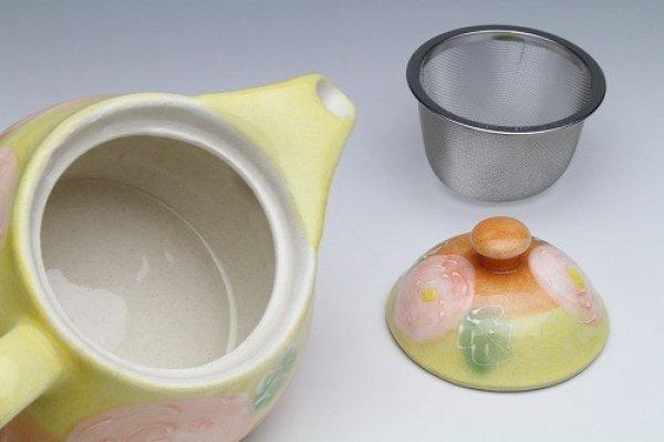 Photo5: Seto pottery Japanese tea pot koharu rose stainless tea strainer 500ml