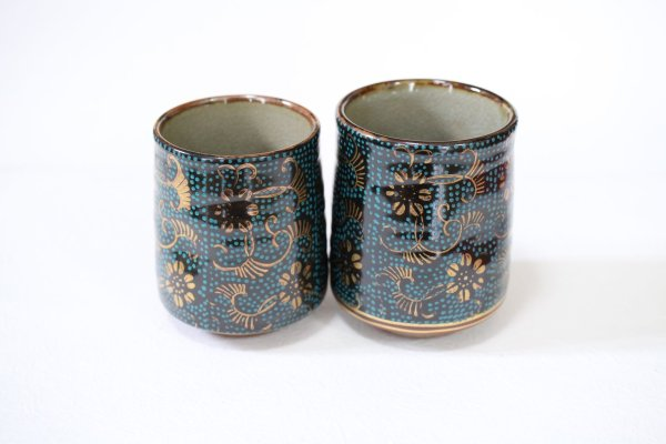 Photo1: Kutani Porcelain Japanese tea cups yon seiryutessen  (set of 2)
