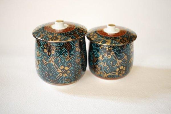 Photo1: Kutani porcelain Futatuki Yunomi kai blue gold aotibu Japanese tea cup (set of 2)