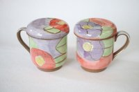 Mino Japanese pottery mug tea coffee cup camellia with strainer and lids set of 2